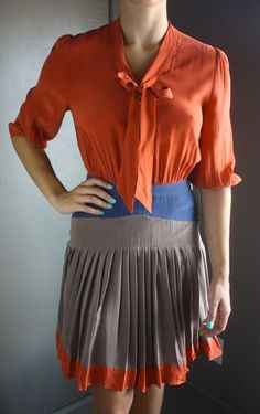 Persimmon Pleated Dress