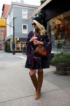Boots (also love these). Poncho (also love this one). Sunglasses: Prada. Dress: Tibi (similar). Hat: old, similar. Bag: Gucci.