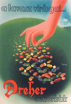 vintage Hungarian advertising poster, Dreher brand candy