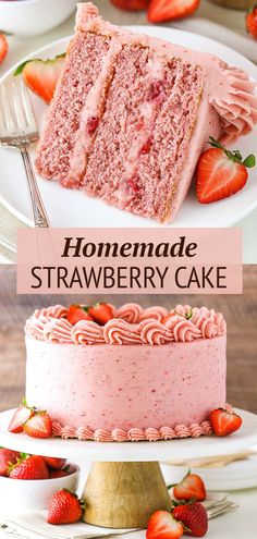 Strawberry Sheet Cakes, Homemade Strawberry Cake, Fresh Strawberry Cake, Strawberry Cake Recipes, Cake With Strawberries, Strawberry Cake Decorations, Strawberry Sweets, Cupcakes, Cupcake Cakes