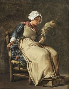 Hugues Taraval - A kitchen maid [Titled as such by the pinner, but she is spinning wool with a drop spindle, so. 18th Century Clothing, 18th Century Fashion, Kitchen Maid, Spinning Wool, Spinning Wheels, Drop Spindle, Foot Warmers, Mary Cassatt, Weaving