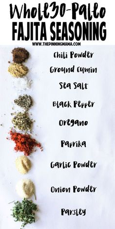 Homemade Fajita Seasoning Mix recipe- Paleo, gluten free, compliant and MOST importantly, seriously delicious. Use as a marinade, dip or to season veggies! (Steak And Chicken Fajitas) Paleo Recipes, Mexican Food Recipes, Real Food Recipes, Cooking Recipes, Paleo Sauces, Quick Recipes, Free Recipes, Bbq Sauces, Smoker Recipes