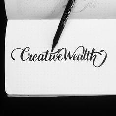 Creative wealth #brushpen #yoka #brushlettering #lettering #handlettering #practice #type #typography #calligrafikas #dreweuropeo #grafikas #random #words