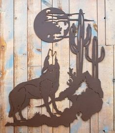 Howling Wolf Rustic Metal Wall Art Sculpture rustic cabin lodge wall decor american made usa ironwood industries Metal Tree Wall Art, Metal Art, Southwestern Wall Decor, Wolf, Tree Art, Decoration, Art Decor, Room Decor, Metal Walls