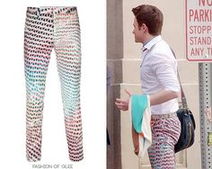 If Kurt's wearing a pair of funky printed pants, the general rule is that they're probably by Paul Smith! Paul Smith Lightbox Mesh-Print Pants - $640.00 Worn with:Vivienne Westwood cardigan,Marc by Marc Jacobs bag, Paul Smith boots