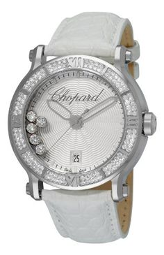 Stainless steel case White leather strap Pin buckle Stainless steel bezel set with 114 diamonds White wave pattern dial 5 floating diamonds (1.59 ct.) Date at the 6 o'clock position Anti-reflec...