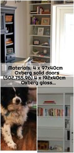 Materials: 4 x Oxberg solid doors 4 x Oxberg glass… - ikea-billy-bookcase-hack Ikea Billy Bookcase Hack, Solid Doors, Glass Door, Hacks, Glass Doors, Tips