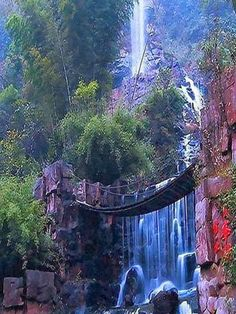 Amazing Waterfalls Around The World -1 - Baofeng Lake Waterfalls and suspension bridge in Zhangjiajie, China