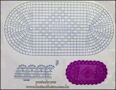 Crochê On Line - Gráficos, Paps e Vídeoaulas - Crochê Passo a Passo Crochet Doily Rug, Crochet Placemats, Crochet Table Runner, Crochet Stitches Patterns, Doily Patterns, Crochet Home, Thread Crochet, Filet Crochet, Crochet Designs
