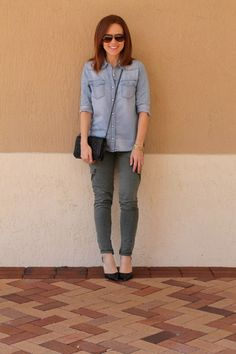 denim shirt & cargo pants // three ways to wear (just swap out the footwear!)