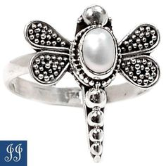 s7-41262-DRAGONFLY-GENUINE-PEARL-925-STERLING-SILVER-RING-SIZE-7-JEWELRY
