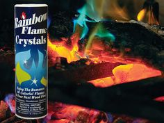 "Just sprinkle a few shakes of the Rainbow Fireplace Flame Crystals into your fireplace to create spectacular and colorful blue and green flames. It works with any wood fire either indoors or outdoors. Can be used with fireplaces, fire pits and campfires for a dazzling fire. - ""Am I the only one that thinks of Harry Potter? It's magic!"""