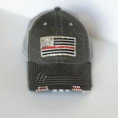 ebed00ba5b30 Thin Red Line Flag Distressed Trucker Hat for Women with Swarovski Crystal  Rhinestones