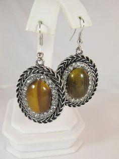 FG349 - Natural Stone Earrings - Tiger Eye