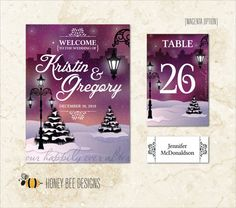 WINTER WEDDING Decoration Collection - Park, Evergreens, Lanterns - Entry Poster, Table Numbers & Name Place Cards - Printable Digital Files