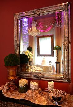 """Our current """"The Studio"""" showroom, featuring pops of gold and dramatic lighting... www.affairs.com"""