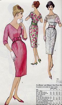 pink dressy by Millie Motts, Vintage Dress Patterns, Clothing Patterns, Vintage Dresses, Vintage Outfits, 1960s Fashion, Vintage Fashion, Vestidos Retro, Patron Vintage, Fashion Artwork
