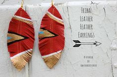 DIY Tribal Leather Feather Earrings
