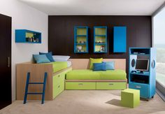 Modern and Cool Bedroom Design Ideas for Two Children: Awesome Kids Room with Hanging Book Shelves and Blue Computer Desk – Home Design Ideas