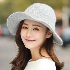 Gray Rabbit Fur fedora hat for women warm winter hats