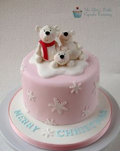 the clever little cupcake company - christmas - christmas cake - polar bear cake. id definitely want a red cake not a pink one but the idea is cute. Christmas Cake Designs, Christmas Cake Topper, Christmas Cake Decorations, Holiday Cakes, Christmas Desserts, Christmas Treats, Christmas Cakes, Christmas Christmas, Christmas Wedding