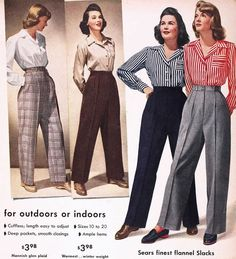 Find images and videos about fashion, vintage and retro on We Heart It - the app to get lost in what you love. 1950s Fashion Pants, 1940s Fashion Women, 1940s Fashion Dresses, Retro Fashion, Vintage Fashion, Womens Fashion, 1940's Fashion, Vintage Outfits, 1950s Outfits