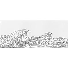 """The original pen and ink drawing """"The Waves"""" by textile designer and artist, Christy Almond of The Collective Art Design, evokes the movement of th. Easy Pen Drawing, Black Pen Drawing, Wave Drawing, Sharpie Drawings, Cool Art Drawings, Ink Pen Drawings, Minimalist Drawing, Minimalist Painting, Minimalist Style"""