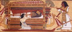From a facsimile of the Egyptian Book of the Dead. Here, a priest, clad in a leopard skin, leads a funeral procession, while a wife, in patterned ceremonial dress, grieves beside the mummy of her husband.
