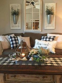99 Fascinating Farmhouse Living Room Decor Ideas For You - An open family room and kitchen where the family eats is designed in charming farmhouse style which makes it a warm and welcoming heart for the home. Home Living Room, Living Room Designs, Rustic Living Room Decor, Living Room Decor Brown Couch, Country Decor, Farmhouse Decor, Farmhouse Style, Farmhouse Design, Modern Farmhouse