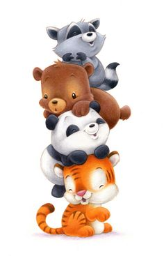 adorable baby animal tower