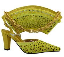 Yellow Color Shoes and Bag Set for Party In Women High Quality Matching Italian Shoe and Bag Nigerian Shoes and Bag Sets MM1030 //FREE Shipping Worldwide //