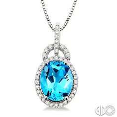 Blue Topaz and Diamond Pendant in 14K White Gold #SoPretty