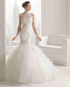 魅力的な ハイネック ウェディングガウン ウェディングドレス Hro0113
