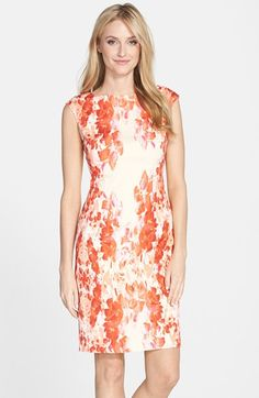 Adrianna Papell Floral Print Crêpe de Chine Sheath Dress (Regular & Petite) available at #Nordstrom