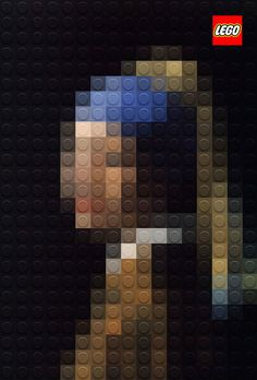 'Girl with a Pearl Earring' by Johannes Vermeer in Lego by Marco Sodano