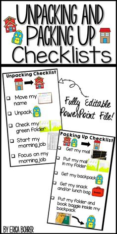 Visual check lists for unpacking and packing up in the classroom.  Fully editable PowerPoint file.