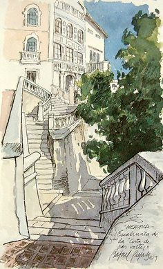 "Rafael Pujals: Escalinata de ""La Costa de ses Voltes"" de Maó - Menorca Landscape Drawings, Architecture Drawings, Landscapes, Watercolor Sketch, Watercolor Landscape, Monuments, Art Aquarelle, Moleskine, Urban Sketchers"
