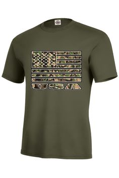 """""""Camo USA Flag"""" - T-Shirt - 100% Pre-Shrunk Soft Spun Cotton - 5.2 oz - Short set-in sleeves - Taped neck and shoulder seams for durability - Two-needle hemmed sleeves and bottom won't unravel - Seaml"""
