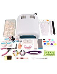 Beauty7 Kit de Nail Art Pour Ongle Faux Complet - 27 accessoires 36W UV Lampe Brosse Acrylique Strass Manucure