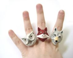 Best Friend Rings - Matching Rings Woodland Animals Set of Three via Etsy Fimo Ring, Polymer Clay Ring, Best Friend Rings, 3 Best Friends, Animal Rings, Animal Jewelry, Garra, Bff Rings, Couple Rings