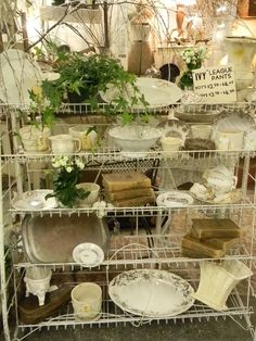 Front Rack with old pieces of plates etc