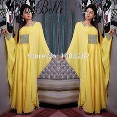 Kaftan Dubai Beaded Long Evening Dresses 2017 Arabic Caftan Yellow Chiffon Formal Evening Gowns Party Dress Abiti Da Sera Lunghi