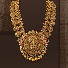Gold Temple Jewellery, 1 Gram Gold Jewellery, Gold Jewellery Design, Bead Jewellery, Gold Jewelry, Pearl Necklace Designs, Gold Earrings Designs, Antique Necklace, Gold Designs