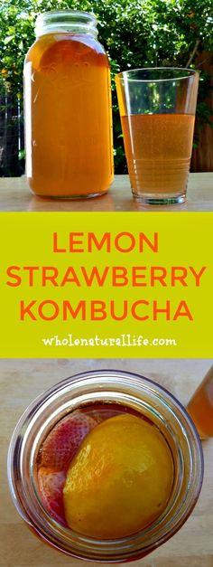 Time for another kombucha post! So far I've shared strawberry kombucha and raspberry kombucha. Today I'm sharing another one of our favorites: lemon strawberry Kombucha Tee, Kombucha Drink, Kombucha Flavors, Probiotic Drinks, Kombucha Brewing, Organic Kombucha, Homebrewing, Second Ferment Kombucha, Health Products