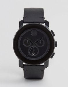 Get this Movado's watch now! Click for more details. Worldwide shipping. Movado Bold 3600337 Chronograph Leather Watch In Black - Black: Watch by Movado, Real Leather strap, Stainless steel case, Three hand movement, Sub-dial, chronograph design, Date window, Dash indices, Single crown to side, Twin pushers, Pin-buckle fastening, Splash proof: do not immerse in water. Made with the same Swiss craftsmanship since its founding in 1881, Movado continues to push the boundaries of modern design…