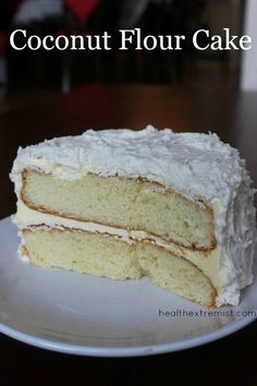 This paleo coconut flour cake recipe only contains one type of flour coconut flour! This paleo cake is delicious fluffy and moist. The cake and frosting are both gluten free grain free gluten free. I made this coconut flour cake for my brother's birth Coconut Flour Cakes, Almond Flour Recipes, Coconut Recipes, Coconut Milk, Almond Cakes, Paleo Sweets, Paleo Dessert, Low Carb Desserts, Paleo Food