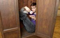 David Tennant. Drinking tea in a cupboard.