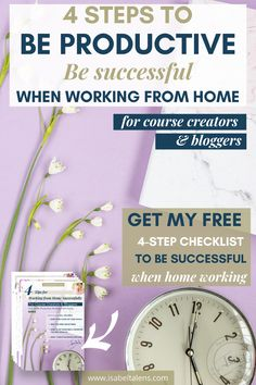 Stop wasting time when working from home. How to be more productive for entrepreneurs. Get my free checklist. No more long to do list. Don't settle for time management tips only. Get a 4 steps working from home successfully systems for work life balance. Stop the hustle and develop productive habits of how to work from home. Great ideas to gain 1 day per week to spend as you want! Prioritise and meet your deadlines. Good habits #productivity #workingfromhome #wah #girlboss #entrepreneur #blogger Business Planning, Business Tips, Online Business, Make Money Blogging, Way To Make Money, Money Fast, Small Business Organization, Work From Home Tips, Secret To Success