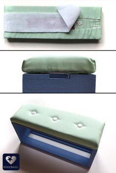 "Upholstered bench for 18"" dolls -- free, fun, easy tutorial! 