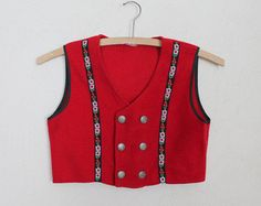 Red Wool Childrens Vest Folk Style Tyrol Dirndl Waistcoat  Austrian Oktoberfest German Bavarian Festival Size 8